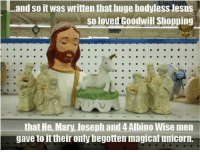 Magical Unicorn: and so it was written that huge bodyless Jesus  so loved Goodwill Shopping  that He, Mary, Joseph and 4 Albino Wise men  gave to it their only begotten magical unicorn.