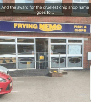 Ooooh.: And the award for the cruelest chip shop name  goes to...  FRYING HIP  FISH Ooooh.