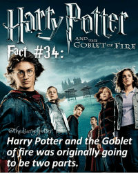 Comment '😍' if you knew this and '😮' if you didn't! harrypotter thechosenone theboywholived hermionegranger ronweasley gryffindor bestfriends thegoldentrio cedricdiggory hufflepuff hogwarts fleurdelacour beauxbatons viktorkrum durmstrang jkrowling harrypotterfan harrypotterfilm harrypotterfact harrypotterfacts • Potterheads⚡count: 42,855: AND  THE  FIRE  Harry Potter and the Goblet  of fire was originally going  to be two parts. Comment '😍' if you knew this and '😮' if you didn't! harrypotter thechosenone theboywholived hermionegranger ronweasley gryffindor bestfriends thegoldentrio cedricdiggory hufflepuff hogwarts fleurdelacour beauxbatons viktorkrum durmstrang jkrowling harrypotterfan harrypotterfilm harrypotterfact harrypotterfacts • Potterheads⚡count: 42,855
