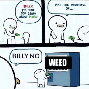 Dank, Memes, and Money: AND THE IMPORTANCE  BILLY  ITS TIME  You LEARN  ABOUT MONEY  OF...  BILLY NO  WEED meirl by SwiftYokai MORE MEMES