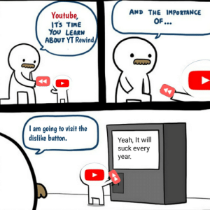 Youtube.. Wait.: AND THE IMPORTANCE  Youtube,  ITS TIME  YoU LEARN  ABOUT YT Rewind,  OF ...  I am going to visit the  dislike button.  Yeah, It will  suck every  year. Youtube.. Wait.