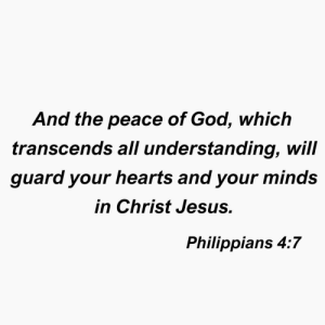 4 7: And the peace of God, which  transcenas all understanding, will  guard your hearts and your minds  in Christ Jesus.  Philippians 4:7