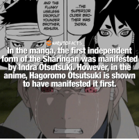 Memes, Superior, and 🤖: AND THE  THE  FLUNKY  USELESS  SUPERIOR  DROPOUT  OLDER BRO  THER WAS  YOUNGER  BROTHER,  INDRA.  ASHURA  In the manga, the first independent  he sharingan was manifested  by Indra anime, Hagoromo Otsutsuki is shown  to have manifested it first. The OGs! 😍 | Be able to use Sharingan or be able to use Chidori? 😉 | follow @marvelousfacts