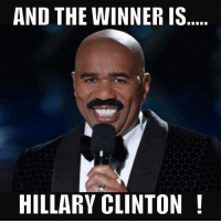 AND THE WINNER IS  HILLARY CLINTON