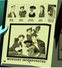 """radondoran:  """"Brad Chiles, Ricky Owens, Cassidy Williams, Judy Reeves, and mascot Professor Pericles—Crystal Cove High's Mystery Solvers' Club."""": and their mascot  CASSIDY  WILLIAMS  JUDY  REEVES  BRAD  RICKY  CHILES OWNSSREEVESOFESSOR  PERICLES  MYSTERY INCORPORATED radondoran:  """"Brad Chiles, Ricky Owens, Cassidy Williams, Judy Reeves, and mascot Professor Pericles—Crystal Cove High's Mystery Solvers' Club."""""""
