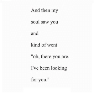 "Saw, Been, and Net: And then my  soul saw you  and  kind of went  ""oh, there you are.  I've been looking  for you.' https://iglovequotes.net/"