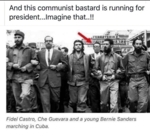 Bernie Sanders, Cuba, and Communist: And this communist bastard is running for  president...Ilmagine that..!!  RO  Fidel Castro, Che Guevara and a young Bernie Sanders  marching in Cuba. Explains why Bernie is a devout Communist.