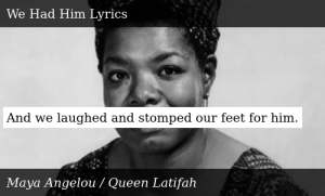 SIZZLE: And we laughed and stomped our feet for him.