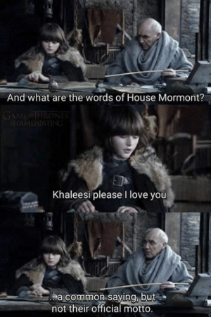 motto: And what are the words of House Mormont?  AMEPOS  Khaleesi please I love you  a common saying, but  not their official motto.
