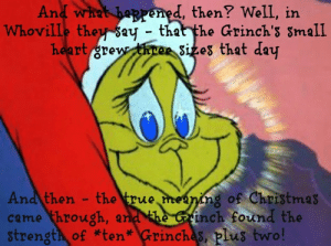 Image result for grinch's small heart grew