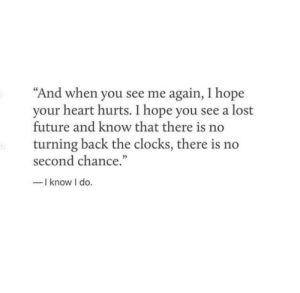 "Me Again: ""And when you see me again, I hope  your heart hurts. I hope you see a lost  future and know that there is no  turning back the clocks, there is no  second chance.""  -I know I do."