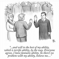 "Relevant. 😂😂😂 (via @newyorkercartoons): ""..and will to the best of my ability,  which is terrific ability, by the way. Everyone  agrees, I have fantastic ability. So there no  problem with my ability, believe me. Relevant. 😂😂😂 (via @newyorkercartoons)"