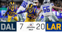 Memes, Nfl, and 🤖: ANDER ESCH  10  DAL  NFL  DIVISIONAL  HALF  2  LAR HALFTIME:  #DallasCowboys 7 #LARams 20  📺: #DALvsLAR on FOX https://t.co/RQ3ypWUb9V