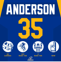 Memes, Nfl, and Rush: ANDERSON  23  CARRIES  123  RUSH YDS  2  RUSH TDS  WIN!  NFL  DIVISIONAL .@cjandersonb22 stepped up big time 💯 #HaveADay #LARams  #NFLPlayoffs https://t.co/vgARBiUEzO