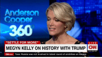 """Megyn Kelly speaks out: Donald J. Trump threatened me.: Anderson  Cooper  """"SETTLE FOR MORE  LIVE  MEGYN KELLY ON HISTORY WITH TRUMP  CNN  2:41 AM CET  CNN.com Tass: Russia was not involved in latest round of airstrikes on Aleppo Megyn Kelly speaks out: Donald J. Trump threatened me."""