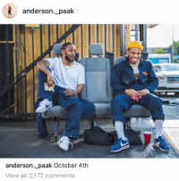 Friends, Memes, and A Song: anderson._paak  anderson._paak October 4th  View all 2,172 comments kendricklamar & andersonpaak dropping a song‼️ Follow @bars for more ➡️ DM 5 FRIENDS