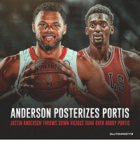 Bobby Portis gets posterized by Justin Anderson 😱 — @hawksnation_atlanta: ANDERSON POSTERIZES PORTIS  JUSTIN ANDERSON THROWS DOWN VICIOUS DUNK OVER BOBBY PORTIS  CL Bobby Portis gets posterized by Justin Anderson 😱 — @hawksnation_atlanta