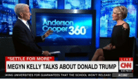 """""""We had security guards the whole year... the threat level just got so high.""""  In a conversation with Anderson Cooper, Fox News anchor Megyn Kelly opens up about threats she received during the 2016 presidential campaign. http://cnn.it/2f6nORy: Anderson  """"SETTLE FOR MORE""""  MEGYN KELLY TALKS ABOUT DONALD TRUMP  CNN  8:40 PM ET  SKING UNIVERSITIES FOR GUARANTEES THAT THE SCHOOL WONTRELEASE AC360 """"We had security guards the whole year... the threat level just got so high.""""  In a conversation with Anderson Cooper, Fox News anchor Megyn Kelly opens up about threats she received during the 2016 presidential campaign. http://cnn.it/2f6nORy"""