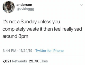 Me irl: anderson  @xvkinggg  It's not a Sunday unless you  completely waste it then feel really sad  around 8pm  3:44 PM- 11/24/19 Twitter for iPhone  7,021 Retweets 29.7K Likes Me irl