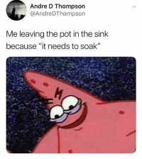 "Memes, Trendy, and Pot: Andre D Thompson  @AndreDThompson  Me leaving the pot in the sink  because ""it needs to soak'"" Follow @sigh for the greatest memes"