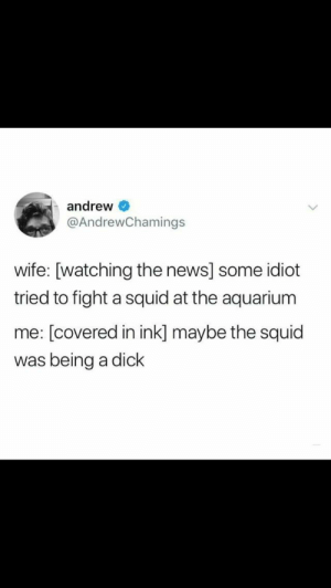 Dank, Memes, and News: andrew  @AndrewChamings  wife: [watching the news] some idiot  tried to fight a squid at the aquarium  me: [covered in ink] maybe the squid  was being a dick Me🐼irl by ethan_picho MORE MEMES