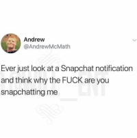 Lmao, Memes, and Snapchat: Andrew  @AndrewMcMath  Ever just look at a Snapchat notification  and think why the FUCK are you  snapchatting me Lmao
