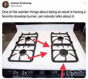 Being an Adult, One, and Adult: Andrew Armstrong  @donfrijole  One of the weirder things about being an adult is having a  favorite stovetop burner, yet nobody talks about it  PRACTICALLY  FUNCTIONAL