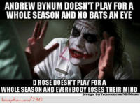 D-Rose vs. Andrew Bynum! Credit: Billy Gunderson  http://www.lolception.com/730: ANDREW BYNUMDOESNT PLAY FOR A  WHOLE SEASON AND NO BATSANEYE  D ROSE DOESNTPLAY FOR A  WHOLE SEASON AND EVERYBODY LOSES THEIR MIND  Brought By  Facebook.com NBAMesmes  730 D-Rose vs. Andrew Bynum! Credit: Billy Gunderson  http://www.lolception.com/730