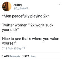 """<p>When her head game is a 65 overall (via /r/BlackPeopleTwitter)</p>: Andrew  @C_obain47  *Men peacefully playing 2k*  Twitter women """" 2k won't suck  your dick""""  Nice to see that's where you value  yourself  7:18 AM-15 Sep 17  1,645 Retweets 1,967 Likes <p>When her head game is a 65 overall (via /r/BlackPeopleTwitter)</p>"""