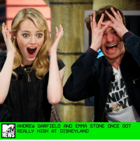 """Disneyland, Memes, and Emma Stone: ANDREW GARFIELD AND EMMA STONE ONCE GOT  REALLY HIGH AT DISNEYLAND  NEWS Andrew Garfield recently did an on-camera interview with W magazine, during which he spent the first two minutes talking about praying, longing, agony, and developing a relationship with a greater power. And then? He lightened things WAY the hell up by recalling the time he got high at Disneyland. As Garfield recalled, the year was 2012, and he ventured to the Happiest Place on Earth to celebrate his 29th birthday with then-girlfriend Emma Stone and seven other friends. """"They came out to L.A. to surprise me. We went to Disneyland. We ate pot brownies. It was literally heaven. How about Space Mountain three times in a row?"""" he said, adding, """"I freaked out on It's a Small World. I was like, 'It is a fucking small world.'"""" Almost five years after the fact, Garfield does feel a little guilty for making his Disneyland tour guide put up with the group's antics. """"We had this girl called Chantelle — bless you, Chantelle, wherever you are — she was our guide. And I think she was that innocent and pure of heart that she had no idea that we were on drugs,"""" he recalled. The actor also recreated a silly dance that he and his pals busted out during their trippy Disneyland trek, but that's best seen by your own eyes. by Madeline Roth"""