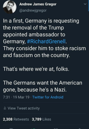 Android, Racism, and Twitter: Andrew James Gregor  @andrewjgregor  In a first, Germany is requesting  the removal of the Trump  appointed ambassador to  Germany, #RichardGrenell  They consider him to stoke racism  and fascism on the country.  That's where we're at, folks.  The Germans want the American  gone, because he's a Nazi.  7:31 19 Mar 19 Twitter for Android  li View Tweet activity  2,308 Retweets 3,789 Likes Damn, that's scary.