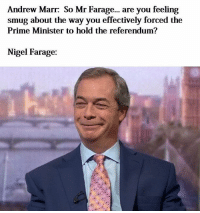 smug: Andrew Marr: So Mr Farage... are you feeling  smug about the way you effectively forced the  Prime Minister to hold the referendum?  Nigel Farage: