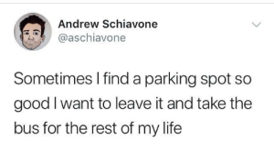 Life, Good, and Rest: Andrew Schiavone  @aschiavone  Sometimes I find a parking spot so  good I want to leave it and take the  bus for the rest of my life Parking