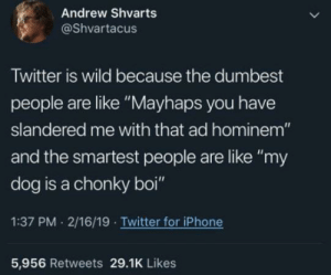 "Iphone, Twitter, and Iphone 5: Andrew Shvarts  @Shvartacus  Twitter is wild because the dumbest  people are like ""Mayhaps you have  slandered me with that ad hominem""  and the smartest people are like ""my  dog is a chonky boi""  1:37 PM 2/16/19 Twitter for iPhone  5,956 Retweets 29.1K Likes Twitters got us all mixed up"