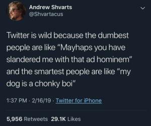 "Mayhaps you have slandered me with that as hominem: Andrew Shvarts  @Shvartacus  Twitter is wild because the dumbest  people are like ""Mayhaps you have  slandered me with that ad hominem""  and the smartest people are like ""my  dog is a chonky boi""  1:37 PM 2/16/19 Twitter for iPhone  5,956 Retweets 29.1K Likes Mayhaps you have slandered me with that as hominem"