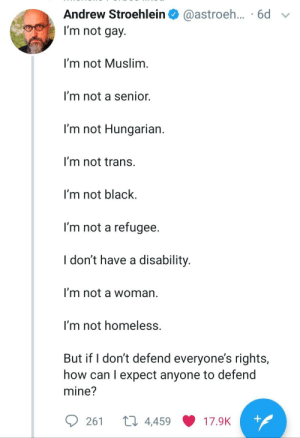 awesomacious:  Completely accurate.: Andrew Stroehlein  @astroeh... .6d  I'm not gay.  I'm not Muslim.  I'm not a senior.  I'm not Hungarian.  I'm not trans.  I'm not black  I'm not a refugee.  I don't have a disability.  I'm not a woman  I'm not homeless.  But if I don't defend everyone's rights,  how can I expect anyone to defend  mine?  ti 4,459  +  261  17.9K awesomacious:  Completely accurate.