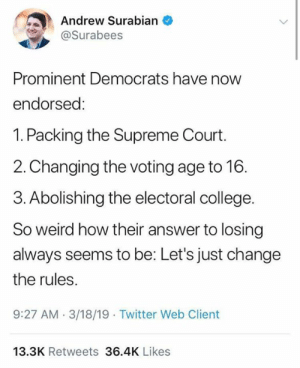 Hmm: Andrew Surabian  @Surabees  Prominent Democrats have now  endorsed:  1. Packing the Supreme Court.  2.Changing the voting age to 16.  3. Abolishing the electoral college.  So weird how their answer to losing  always seems to be: Let's just change  the rules  9:27 AM.3/18/19 Twitter Web Client  13.3K Retweets 36.4K Likes Hmm