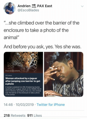 "Dank, Iphone, and Life: Andrien PAX East  SOON  EscoBlades  ""... she climbed over the barrier of the  enclosure to take a photo of the  animal""  And before you ask, yes. Yes she was.  Photo via @ZooWildlife  US news  Woman attacked by a jaguar  after jumping zoo barrier to get  a photo  A woman sustained non-life-threatening injuries  resulting from a jaguar attack at the Wildlife World  Zoo in Arizona. According to the zoo, she climbed  over the barrier of the enclosure to take a photo  of the animal  14:46 10/03/2019 Twitter for iPhone  218 Retweets 911 Likes Trading life for likes by SwissJAmes MORE MEMES"