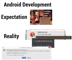 Android, Life, and Apps: Android Development  creating  useful  Expectatioin  apps  12:40:46 AM Gradle build finished with 46 error (s) in 12s 823ms  Gradle Sync Error  Failed to obtain NDK package  Reality  0936  Gradle sync finished in 50 yr O mo 25 d 7h 36 m 16 s 921 ms (from cached state)  Gradle Build Running  Application Installation Failed  Il i pessibe lhal lhis issue is resuv  by urilli  rexislif il is pieil, ar d he e-rslirny  WARNING U-ir sta ling will rm ovc th c ฉ op ication cata  OK  Cance Life is cruel