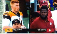 Kirk Cousins looks a little different this season...: ANDY DALTON  8/14.70 Yards  KIRK COUSINS  10/19,109 Yards, INT Kirk Cousins looks a little different this season...