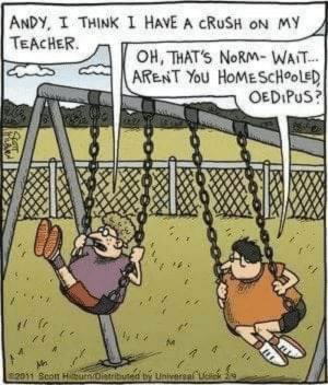 Crush, Funny, and Teacher: ANDY, I THINK I HAVE A CRUSH ON My  TEACHER  OH, THATS NoRM- WAIT  ARENT YoU HoMEScHooleD  OEDIPuS?  Universal Andy I think I have a crush on my teacher via /r/funny https://ift.tt/2zEQttt
