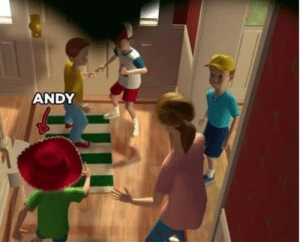 In 'Toy Story' (1995) all of Andy's friends are duplicates of himself.: ANDY In 'Toy Story' (1995) all of Andy's friends are duplicates of himself.