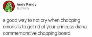 Good, Princess, and Princess Diana: Andy Pandy  @_Pandy  a good way to not cry when chopping  onions is to get rid of your princess diana  commemorative chopping board meirl