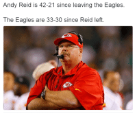 Andy Reid: Andy Reid is 42-21 since leaving the Eagles.  The Eagles are 33-30 since Reid left.