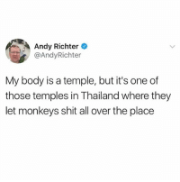 thanks Andy: Andy Richter  @AndyRichter  My body is a temple, but it's one of  those temples in Thailand where they  let monkeys shit all over the place thanks Andy