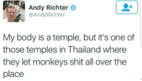 My Body Is A Temple: Andy Richter  @AndyRichter  My body is a temple, but it's one of  those temples in Thailand where  they let monkeys shit all over the  place