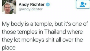 My Body is a temple: Andy Richter  @AndyRichter  My body is a temple, but it's one of  those temples in Thailand where  they let monkeys shit all over the  place My Body is a temple