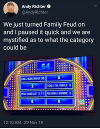 Favorite party games: Andy Richter *  @AndyRichter  We just turned Family Feud on  and I paused it quick and we are  mystified as to what the category  could be  5  |||CHILL NUDE/UNDIES30  ●  TICKLE THE TAMALE 4  PICK NOSE/EAT IT 17 PE/CHOKE A BROWNIE 3  GAME.  SHOW  12:10 AM 29 Nov 18 Favorite party games
