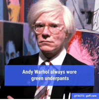 Facts, Memes, and Andy Warhol: Andy Warhol always wore  green underpants  @FACTS l guff com No word on whether they included a logo of Campbell's Split Pea Soup.