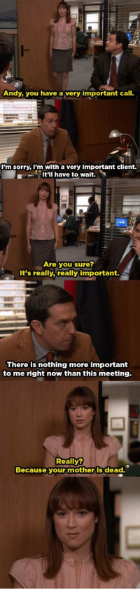 Sorry, The Office, and The Worst: Andy, you have a very important call.  lm sorry, l'm with a very important client.  It'll have to wait.  Are you sure?  It's really,really important.  There is nothing more important  to me right now than this meeting.  Really?  Because your mother is dead. hands down, the worst scene on the office
